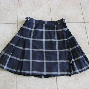 McCarthy Navy Tartan Plaid Pleated School Uniform Skirt With Leather Buckles